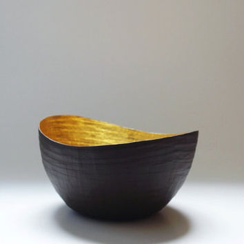 Paper Mache Vessel Brown and Gold The Wavy by etco on Etsy