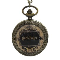 New Fashion Harry Potter Dome Quartz Pocket Watch Analog Pendant Necklace Mens Womens Watches Chain Gift