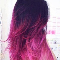 Ombre Hair/Dip Dye Hair/Dark Brown/Pink Ombre/Vibrant Pink