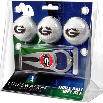 Georgia Bulldogs 3 Ball Gift Pack with Hat Trick Divot Tool