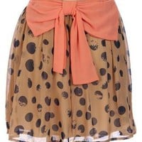 Brown Skirt with Polka Dots and Coral Bow