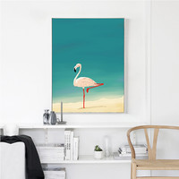 Modern Minimalist Nordic Flamingo Animals Cartoon A4 Art Print Poster Kids Room Bedroom Wall Pictures Decorative Paintings AN089