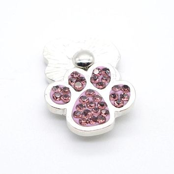 Metal Snap Button 18mm Dog Paw Charms Snap Snaps in Rhinestone Jewelry Pet Lover Gift Fashion 2017