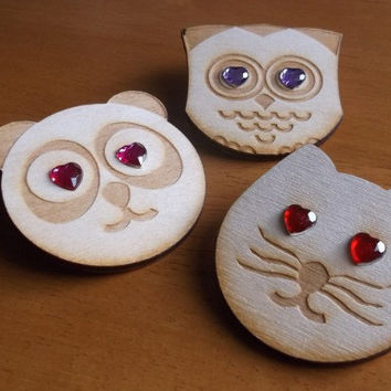 Wooden Cat Owl Panda Brooch Badge, Lasercut