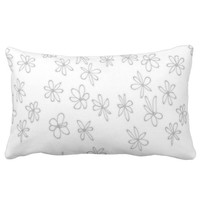 cute flower art gray and white throw pillow