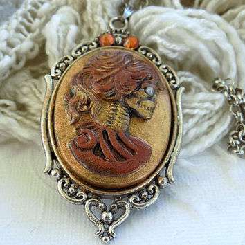 Skeleton Necklace Skull Cameo Pendant Day of the Dead Gothic Jewelry Cameo Skeleton Halloween Necklace  Gift for Her
