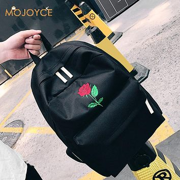 Men Canvas Heart Backpack Cute Women Rose Embroidery Backpacks for Teenagers Women's School Bags Mochilas Rucksack Travel Bags