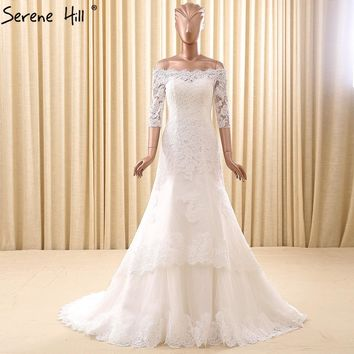 Long Train Wedding Dress White Color Embroidery Lace Half Sleeves Boat Neck Bridal Dress 2018 Real Picture Serene Hill