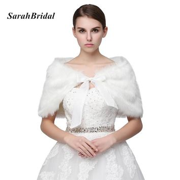 Cheap In Stock White Wedding Jackets 2017 Faux Fur Bolero Bridal Shawl Wraps Shrug Wedding Fur Coat Fast Shipping 17018WT