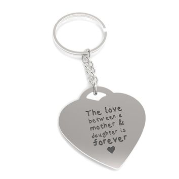 Love Between Mother n Daughter Forever Heart Shaped Key Chain Gift for Mom