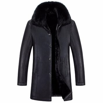 Long Casual Natural Fur Collar Winter Jacket Men Single Breasted Thick Warm Men Leather Winter Coat