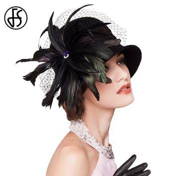 FS Fascinators  100% Australian Wool Fedora Black Feather Elegant Woman Cocktail Hats Winter Retro Felt Bowler Church Hat