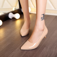 Patent Leather Pointed Toe Women Pumps Dress Shoes 4990