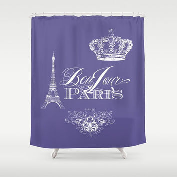 Purple Paris Shower Curtain - Bonjour Chic, french, crown, Eiffel Tower - home decor, bathroom, fancy bathroom, girly, teen