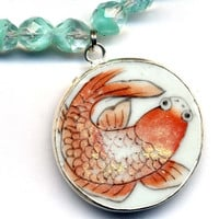OOAK Vintage Czech Glass Necklace with the Antique pottery pendant with Koi Fish, Gold Fish Necklace, Wealth and Good Luck Neckalce