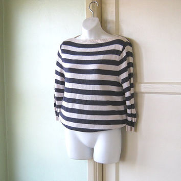 1980s Vintage Boatneck Sailor Stripe Sweater - Woven Vintage Sailor Top; Medium - Slouchy '80s Sweater - Freaks/Geeks Striped Nautical Top