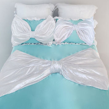 VELVET AQUA BEDDING Set | Reversible Turquoise Satin with Rich White Velvet Bow and Pretty Lace Trim | Includes Two Gorgeous Standard Shams