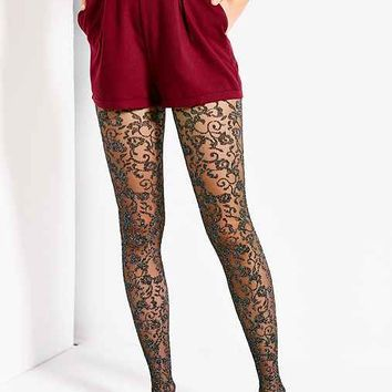 Netted Floral Lurex Tight- Black