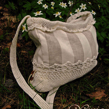 Textile linen bag, fabric bag, boho bag, women bag, cotton lace, knitted bag, crochet bag, white bag, summer bag, fashion bag, boho