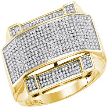 10kt Yellow Gold Mens Round Diamond Arched Rectangle Cluster Ring 5/8 Cttw