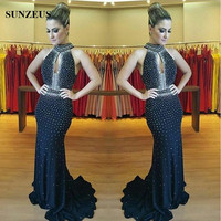 Black Halter Mermaid Prom Dresses Keyhole Front Sexy Long Evening Party Dress Sparkly Beaded Sequin arabische abendkleider S571