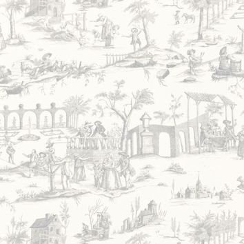 FSchumacher Fabric 175171 Siena Toile Pewter