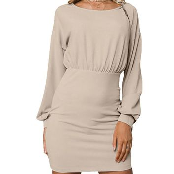 Sexy Package Hip Mini Dress Long Lantern Sleeve Work Office Dress Solid Sheath Zippers Winter Autumn Dress Women O-Neck M0121