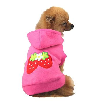 Strawberry Hoodie Apparel Dog Clothes & Cat Clothes