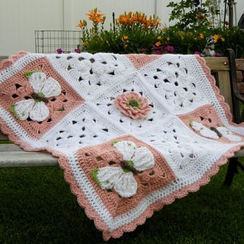Butterfly and Flowers Baby Blanket Baby Shower Gift crochet