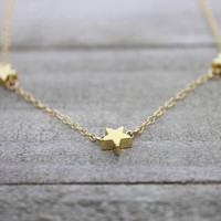 Triple star 14K gold filled chain gold necklace