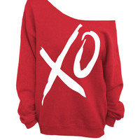 XO - Valentines Day - Red Slouchy Oversized Sweatshirt