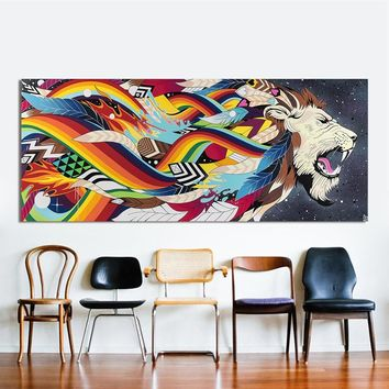 HDARTISAN Wall Art Colorful Lion King Feather Rainbow Oil Painting Home Decor Canvas Pictures For Living Room No Frame