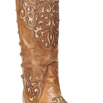 ICIKAB3 Corral Bone-Brown Inlay Back Strap Boots A3043