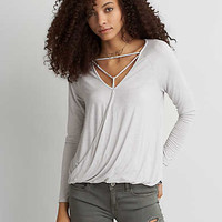 AEO Soft & Sexy Cross-Front T-Shirt , Gray