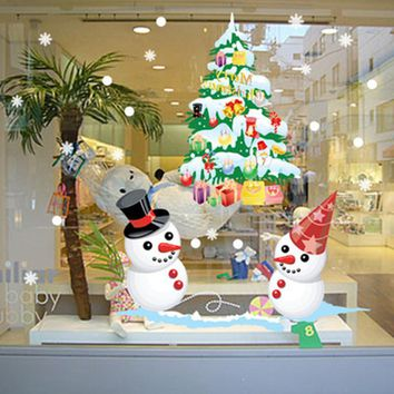 Removable Cartoon Christmas Tree Snowman Wall Sticker Static Cling New Year Shop Window Decal Christmas Decorations
