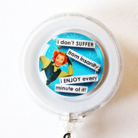 ID Badge Holder, Retractable id, Badge clip, Name Tag, Blue, ID Badge Clip, funny badge holder, humor, insanity