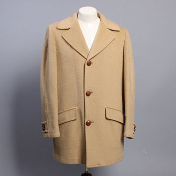 60s Men's PENDLETON Wool OVERCOAT / Lined Camel COAT, L