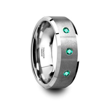 Green Emerald Wedding Ring - Tungsten Ring - Silver Tungsten - Beveled Edges - Brushed Tungsten - 3 Emeralds - Tungsten Wedding Band