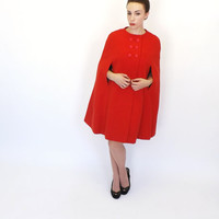 Mam'selle by Betty Carol Vintage 1960s 70s Little Red Riding Hood Wool Cape Coat Cloak Winter Overcoat Mad Men Preppy London Couture Mod