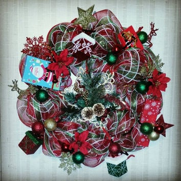 Christmas Mesh Wreath/ Deco Mesh Wreath/ Holiday Decor/ Holiday Wreath/ Front Porch Decor/  Front Door Decoration/ Outdoor Christmas Decor