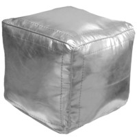 Square Moroccan Leather Poufs, Silver Square Eco Leather