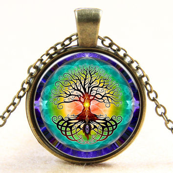 Life Tree Necklace Evil Eye Glass Cabochon Pendant Necklace Statement Necklace gift bronze and silver Antique Bronze Plated