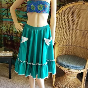 Vintage Teal Square Dancing Skirt, Teal Cowgirl Skirt, Teal Pocket Skirt, Teal Folk Skirt, Partners Please by Malco Modes Skirt, MD/LG