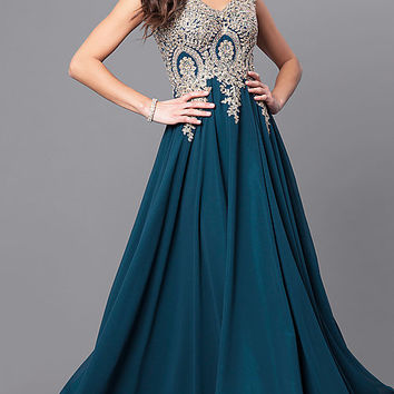 Long V-Neck Prom Dress with Beaded Lace Applique