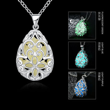 JEXXI Glowing Luminous Vintage Necklaces Special Gift Steampunk Pretty Magic Waterdrop Locket Glow In The Dark Pendant Necklace