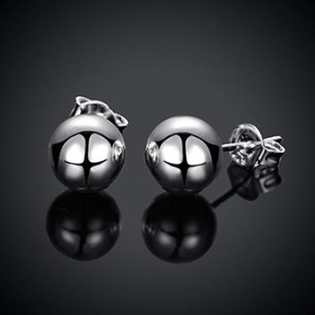 Round Bead Ball Stud Earring for Women Surgical Steel Earring High Quality Fashion Jewelry