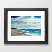 Summer Showers Seascape Framed Art Print by Rosie Brown | Society6