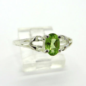 Vintage Peridot Ring, Solitaire Engagement Ring, Sterling Silver Band, Size 8.75
