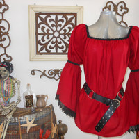 Pirate Renaisssance Chemise Shirt With Lace Trim Other Colors Available. Wear It Over A Pair Of Leggings Or Under A Bodice.