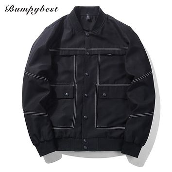 New Men's Bomber Jacket Coat Big pocket Men Jacket Pilot Bomber Jackets Men Windbreaker Jacket gray